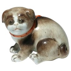 Antique 19th century Japanese Kutani Porcelain Model of a Pug Dog Puppy