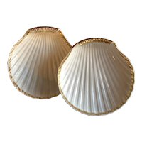 Pair French Empire Paris Porcelain Sea Shell Shape Serving Dishes Decorated with Gold on White Ground Early 19th century