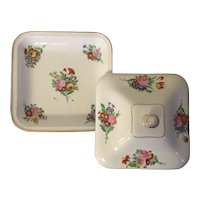 Antique French Empire 19th century Old Paris Porcelain Entree Serving Dish and Cover Decorated with Floral Bouquets