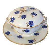 Antique 18th century French Paris Porcelain Ecuelle Soup Broth Bowl, Cover and Saucer