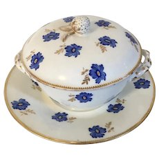 Antique 18th century French Paris Porcelain Ecuelle Soup Broth Bowl, Cover and Saucer in the Sevres Manner