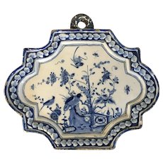Antique 18th century Dutch Delft Tin Glaze Faience Wall Plaque in the Chinese Kangxi Taste
