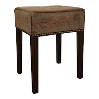 Antique 18th century English George III Mahogany Stool or Bench with Original Lyre and Vine Needlepoint 1780