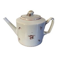 Antique Early 19th century Chinese Export Porcelain Tea Pot with Strap Handle for the American Federal Market 1800 - 1810