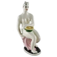 Art Deco Russian Soviet Lomonosov Factory Porcelain Figure of a Nude Bather