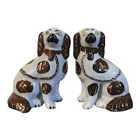 Pair Antique 19th century English Staffordshire Pearlware King Charles Spaniel Dogs 1850 Copper Luster Glaze
