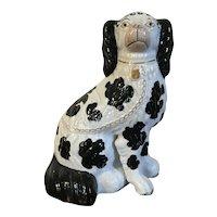 Antique 19th century English Staffordshire Pearlware King Charles Spaniel Dog 1850 Black & White