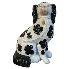 Antique 19th century English Staffordshire Pearlware King Charles Spaniel Dog 1850 Black & White