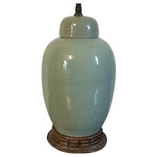 Antique 19th century Chinese Monochrome Porcelain Jar Vase Urn with Incised Decoration and Celadon Glaze Mounted as a Lamp