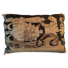 Antique 18th century French Verdure Tapestry Pillow by Lefortier, Paris