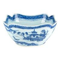 Antique 19th century Chinese Export Canton Porcelain Blue & White Centerpiece Fruit Bowl