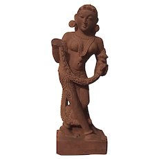 Antique Grand Tour 19th century Indian Carved Sandstone Surasundari Statue of an Exotic Dancer or Heavenly Beauty