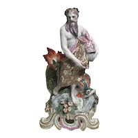Antique 18th century Bow Porcelain Figure of Neptune or Poseidon with a Dolphin Representing Water 1760 - 1765