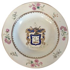 Antique 18th century Chinese Export Porcelain Soup Bowl with Hearaldic Armorial Crest or Coat of Arms for the MacDonald Family in Famille Rose Palette