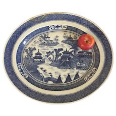 "Very Large 18 3/4"" Chinese Export Porcelain Blue & White Platter with Canton Landscape Scene 18th / 19th century"