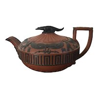 Antique Early 19th century English Regency Wedgwood Rosso Antico Egyptian Revival Tea Pot with Nile Crocodile Cover