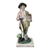 Antique 18th century English Georgian Staffordshire Pearlware Figure of a Gardener