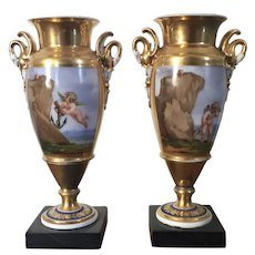 Pair Diminutive Early 19th century French Empire Old Paris Porcelain Vases or Urns Decorated with an Allegory of Lost Love Showing Cupid in Search of the Heart