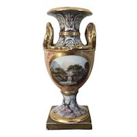 Antique 18th century English George III Derby Porcelain Snake Handled Urn or Vase with Hand Painted Landscape and Flower Reserves on a Salmon and Faux Marble Ground