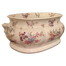 Large Antique 19th century Minton B. B. New Stone Porcelain Foot Bath or Planter Jardiniere 1830 - 1850