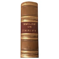 """Book titled """"Thrift"""" by Samuel Smiles Fine Leather Binding, London 1875"""