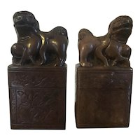 Pair Chinese Art Deco Carved Brown Soapstone Foo Dog Chops or Bookends
