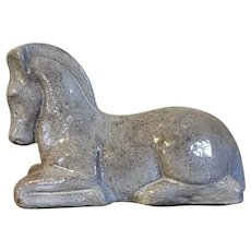 Art Deco Pottery Figure of a Recumbent Horse with Stipple Glaze