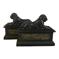 Large Pair 19th century French Empire Bronze Chenets or Andirons Mounted with Egyptian Capitoline Lions