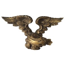 Antique 19th century English George III Carved and Gilt Wood Eagle Pediment