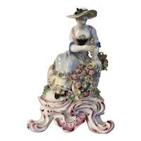 Antique 18th century English George III Bow Porcelain Seasons Figure Emblematic of Spring 1765