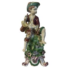 Antique 18th century English George III Bow Porcelain Figure of a Drummer Boy