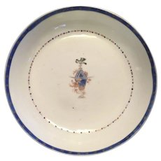 Antique Early 19th century Chinese Export Porcelain Saucer Dish for the American Federal Market with Interesting Crest 1800
