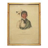 Antique 19th century McKenney & Hall Native American Hand Colored Lithograph of No-Tin, a Chippewa Chief