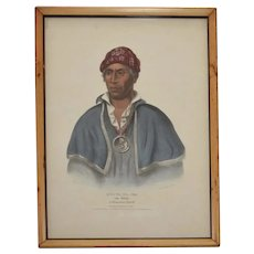 Antique 19th century McKenney & Hall Native American Hand Colored Lithograph of Qua-Ta-Wa-Pea, a Shawnnee Chief