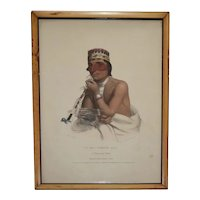 Antique 19th century McKenney & Hall Native American Hand Colored Lithograph of Wa-Em-Boesh-Kaa, a Chippeway Chief