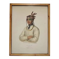 Antique 19th century McKenney & Hall Native American Hand Colored Lithograph of Caa-Tou-See, an Ojibray