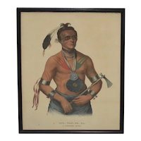 Antique 19th century McKenney & Hall Native American Hand Colored Lithograph of Hoo-wan-ne-ka, A Winnebago Chief
