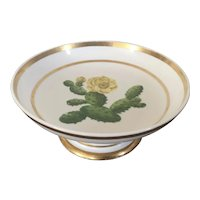 Antique Early 19th century French Empire Old Paris Porcelain Botanical Tazza Compote Centerpiece Bowl by Lebon Halley 1820