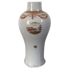 Antique 18th century Chinese Export Porcelain Baluster Shape Vase for the American Federal Market with Sepia Landscape Reserves 1800