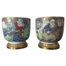 Pair Antique 18th Century Japanese Edo Period Porcelain Beaker Cups Mounted in French Gilt Bronze