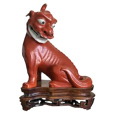 Antique 19th century Chinese Monochrome Porcelain Figure of a Mythical Beast or Kylin Foo Dog in Coral Red Glaze