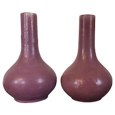 Pair Early 20th century Arts & Crafts Fulper Pottery Bottle Shape Vases in the Chinese Taste with Pink Monochrome Glaze