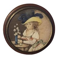 Antique 18th century French Vernis Martin Gentleman's Snuff Box with Hand Painted Portrait Under Glass of a Lady Arranging Flowers