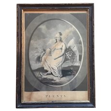 Antique 18th century English George III Mezzotint Print of Plenty by Paul Barnaschino