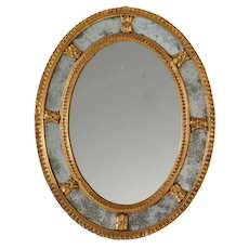 Small Scale Antique 18th century English George III Carved & Gilt Wood Adam Oval Mirror with Divided Panels circa 1780 - 1790