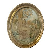 Fine Antique 18th century English George III Silk Needlework Embroidery Picture of a Shepherdess with Her Sheep in Original Brass Frame 1800