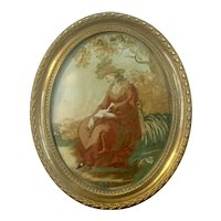Fine Antique 18th century English George III Silk Needlework Embroidery Picture of a Lady with a Red Dress Reading Her Book Under a Tree in Original Brass Frame 1800
