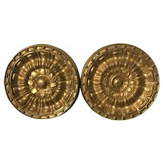 Pair Large Antique 19th century American Federal Empire Gilt Spun Brass Classical Drapery Curtain Tie Backs