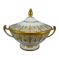 Antique Early 19th century Old Paris Porcelain Ecuelle or Broth Soup Bowl in Gold & White - 1805
