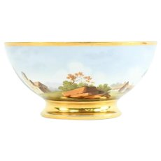 Antique Early 19th century French Empire Old Paris Porcelain Fruit Bowl with Hand Painted Landscape Scene